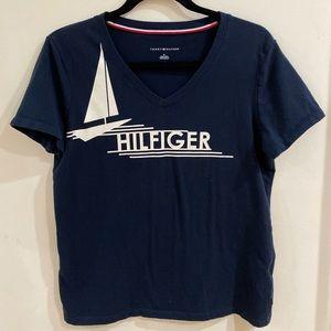 Navy Blue Logo V-Neck T-Shirt
